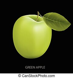 Green apple on a black background - Green fresh Apple with...
