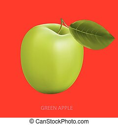 Green apple on a red background - Green fresh Apple with...