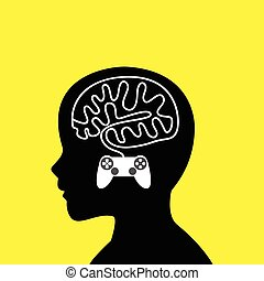 Boy head with brain made from game stick cable - Graphic...
