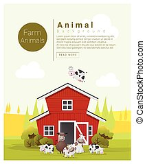 Rural landscape and farm animal background with cow 2 -...
