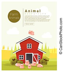 Rural landscape and farm animal background with pig