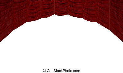 Arc shaped Red Curtain with beautiful textile pattern....