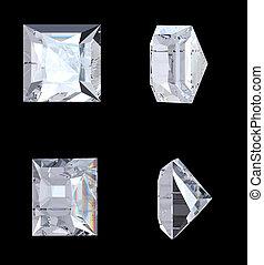 Top bottom and side views of princess diamond