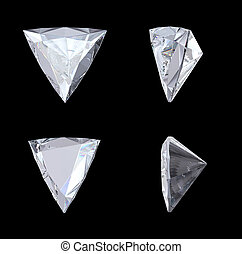 Top, bottom and side views of trillion diamond
