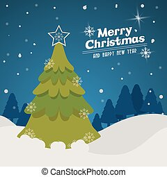 merry christmas pinetree design - pine tree and snow icon....