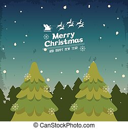 merry christmas pinetree design - pine tree and snow icon...