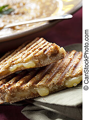 Sandwich and Soup - Grilled cheese sandwich or panini, with...