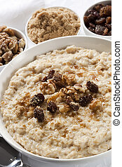 Oatmeal with raisins, walnuts, and brown sugar. Delicious...