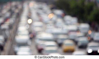 unfocused view on traffic jams in Bangkok