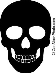 Black skull isolated on white background for pirate or halloween party