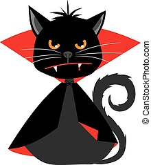 Cat vampire in Dracula carnival costume vector mascot - Cat...