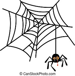 Halloween cute spider on web vector