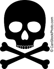 Crossbones skull death vector silhouette icon - Skull vector...