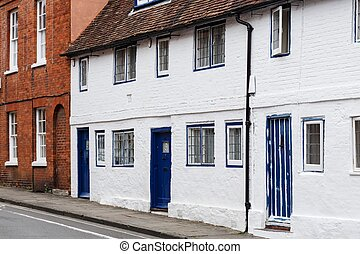 Old English cottage - Row of old terraced cottages in...