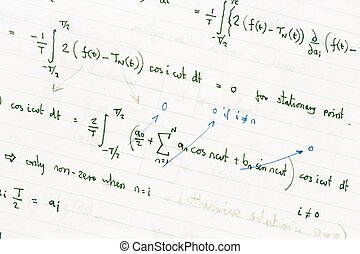 Mathematical equations - Maths homework showing handwritten...