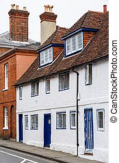 Old houses England - Row of old English terraced houses in...