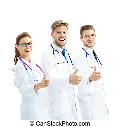 Portrait of an assertive medical team against a white...