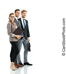 Group of successful business people looking confident -...