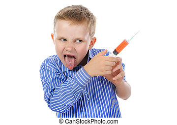 boy with a syringe in his hand.