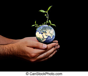 Green world - Hand that protect the green life in the world