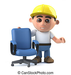 3d Construction worker offers you a chair - 3d render of a...