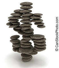 Dollar stability. Pebble stack shaped as currency sign