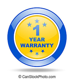 warranty guarantee 1 year blue and yellow web glossy round...