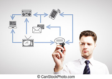 Man drawing technology network - Handsome young man drawing...