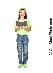 Adorable little girl reading a book