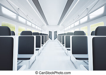 Train interior with black seats - Empty passenger train...