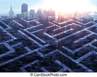 Maze on city background - Abstract maze on city background...