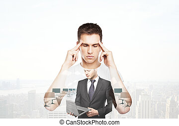 Man thinking about employment - Young man thinking about...