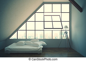Loft bedroom interior with bed, framed window with city...