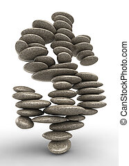 Dollar stability symbol, pebble stack shaped as currency...