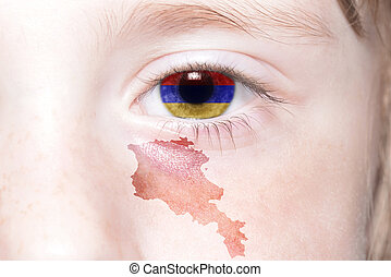 human's face with national flag and map of armenia. concept