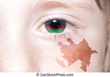human's face with national flag and map of azerbaijan.