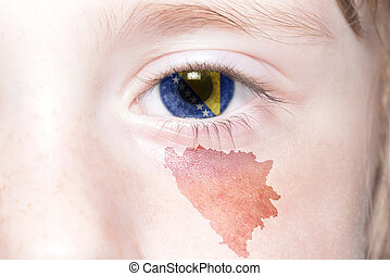 humans face with national flag and map of bosnia and...