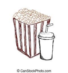 pop corn cinema movie design - pop corn soda film cinema...