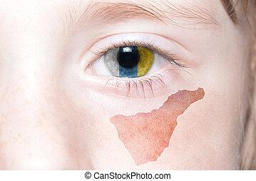Landkarte,  national, Menschen, Gesicht, Fahne, Teneriffa