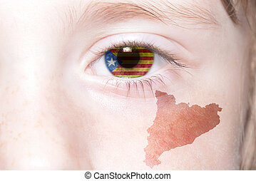 human's face with national flag and map of catalonia.