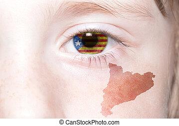 Landkarte,  Catalonia,  national, Menschen, Gesicht, Fahne