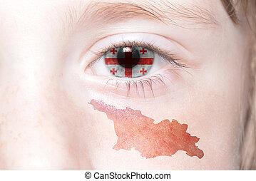 Landkarte,  national, Menschen, Gesicht, Fahne,  georgia