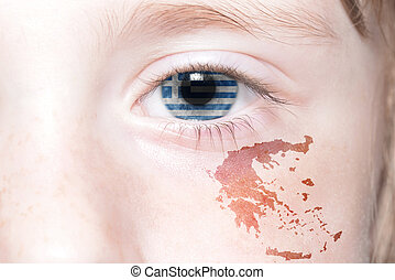 human's face with national flag and map of greece.
