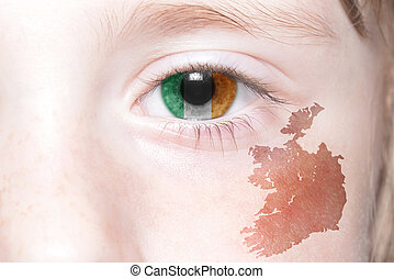 human's face with national flag and map of ireland.