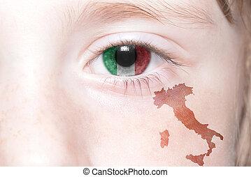 Landkarte,  national, Italien, Menschen, Gesicht, Fahne