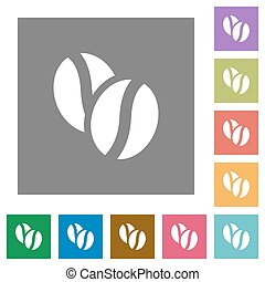 Coffee beans square flat icons - Coffee beans flat icon set...