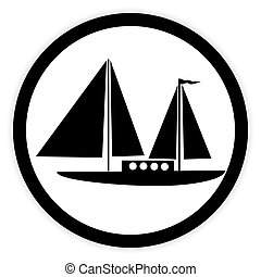 Sailing ship button. - Sailing ship button on white...