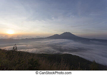 View from Batur volcano on Bali island, Indonesia
