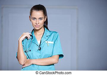 hermoso, retrato, hembra,  doctor