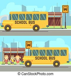 School pupils waiting for schoolbus - Schoolboy and...